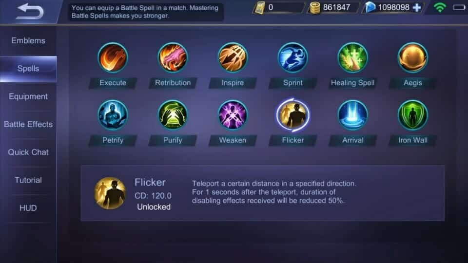 Tingkatkan Level untuk Unlock semua Spells