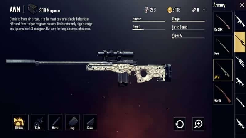 AWM Senjata PUBG Terbaik dan Tersakit