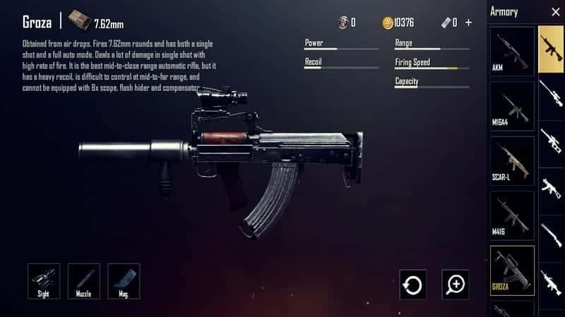 Groza Senjata PUBG Terbaik dan Tersakit