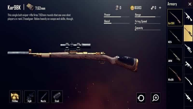 Kar98K Senjata PUBG Terbaik dan Tersakit