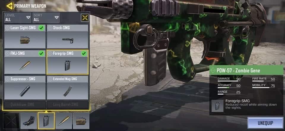 COD Mobile Foregrip Senjata