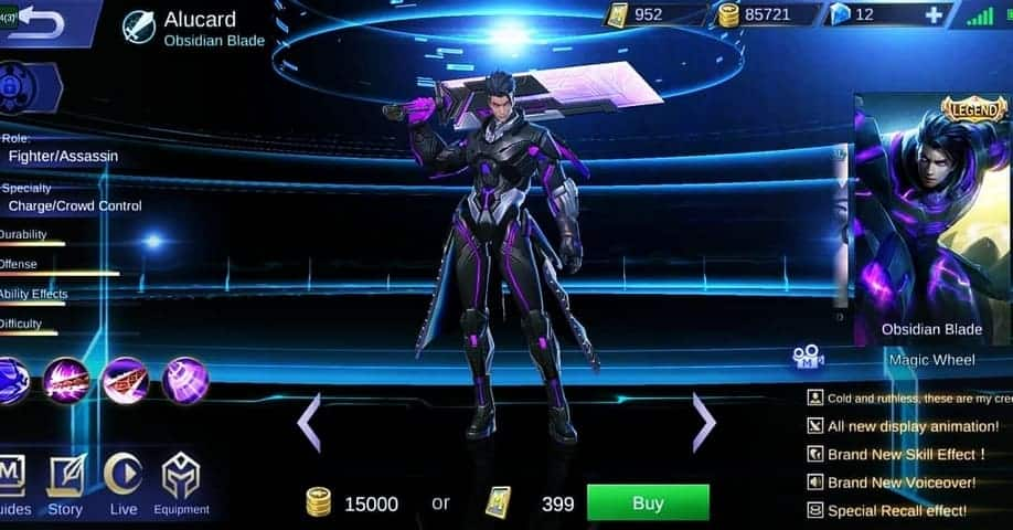 Alucard Obsidian Blade skin termahal mobile legends