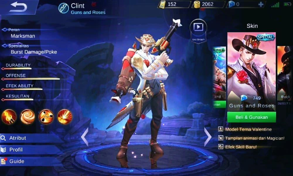 Clint Guns and Roses mobile legends