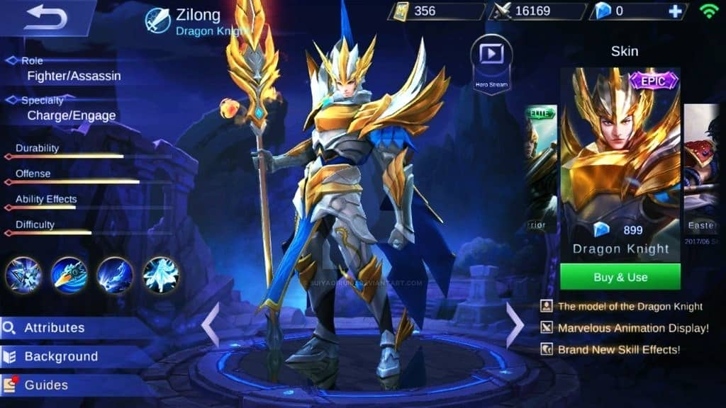 Zilong Dragon Knight skin termahal