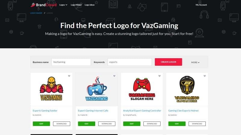 Brandcrowd Website Pembuat Logo eSports